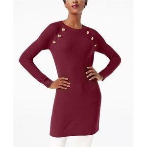 Embellished Tunic Sweater, dark red XL